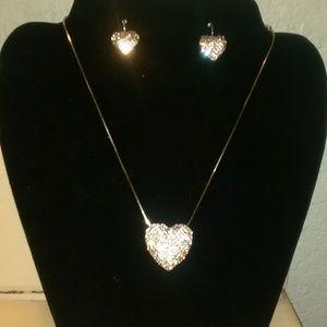 NWT Brighton Swarovski Crystal Hearr Necklace Set